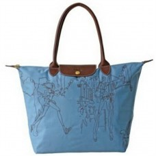 Longchamp Light Embroidered Bags Blue